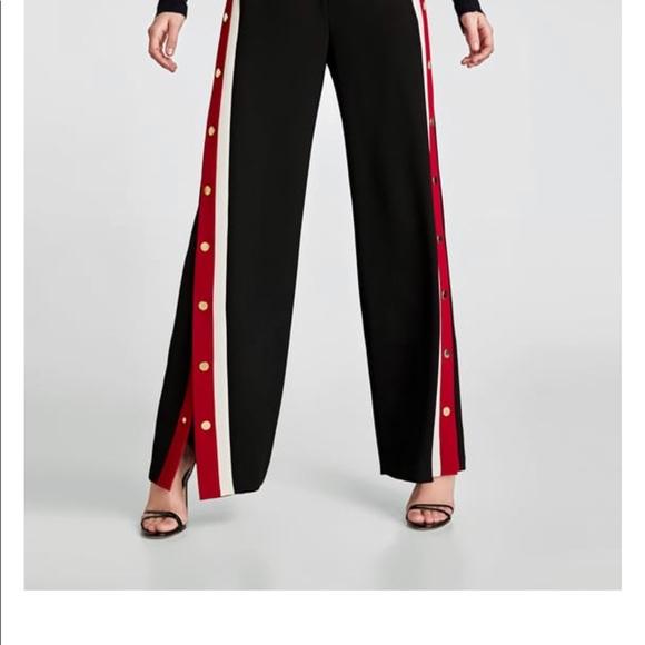 48239998 Zara Pants | Pyjama Style Trousers With Side Stripes Buttons | Poshmark